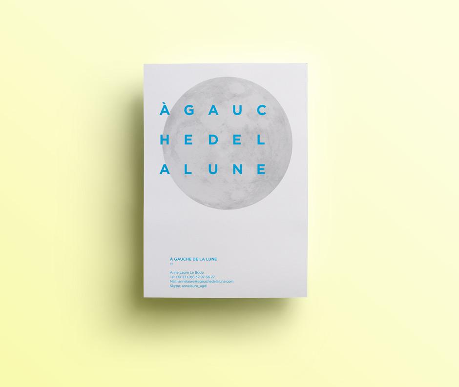 a gauche de la lune, édition, brochure, dépliant